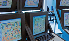 Control screens at a pulp mill in Chile