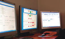 Control screens at a mineral processing plant in Chile