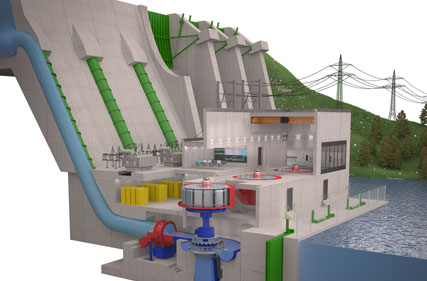 "Scheme of a hydropower plant for energy production from ""from water-to-wire"""